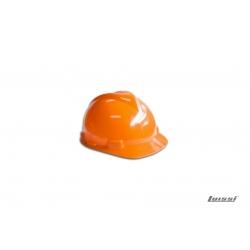 Casco de seguridad naranja con arnes
