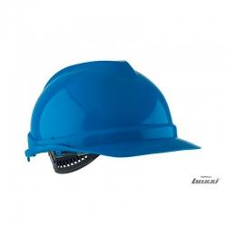 Casco de seguridad azul con arnés