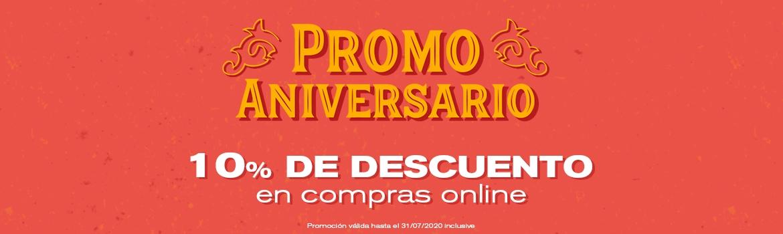Promo aniversario - 10% de descuento en compras online